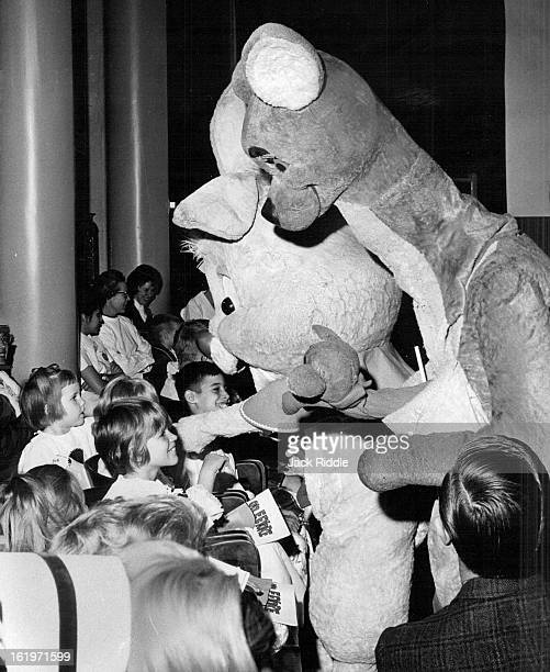 FEB 12 1966 FEB 18 1966 'Pooh' Stars Visit Denver Five characters from Walt Disney's featurette 'Winnie the Pooh' visit with young patients at...