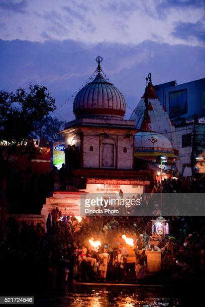 pooja being performed of river ganga, haridwar, uttarakhand, india, asia - haridwar stock pictures, royalty-free photos & images