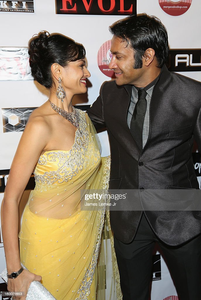 Pooja Kumar and Samrat Chakrabarti attend the 'Vishwaroopam' premiere held at the Pacific Theaters at the Grove on January 24, 2013 in Los Angeles, California.