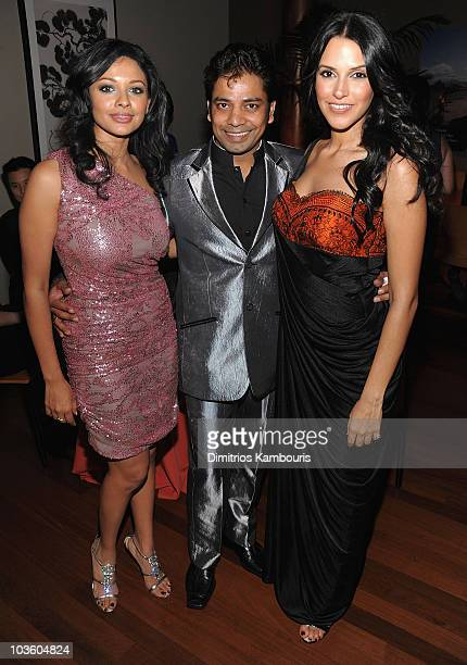 """Pooja Kumar, Choreographer Longinus Fernandes and Neha Dhupia attend the """"Bollywood Hero"""" after party at the Rubin Museum of Art on August 4, 2009 in..."""