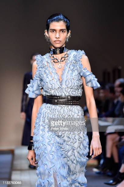 Pooja Mor walks the runway during the Alexander McQueen show as part of the Paris Fashion Week Womenswear Fall/Winter 2019/2020 on March 04 2019 in...