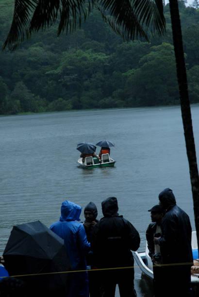 pookodu lake,  wayanad, kerala on a rainy day