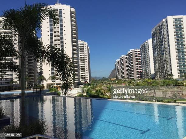 Pool among buildings in the Olympic village of Rio de Janeiro, Brazil, 15 February 2017. Over 3000 apartments are on sale, though buyer's interest...
