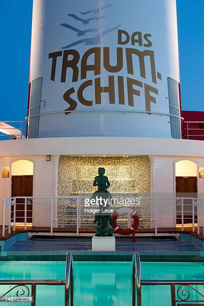 Pool and chimney of cruise ship MS Deutschland.