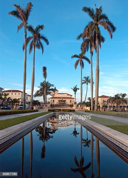 A pool and fountain lead to the Town Hall building located at 360 South County Road Palm Beach Florida
