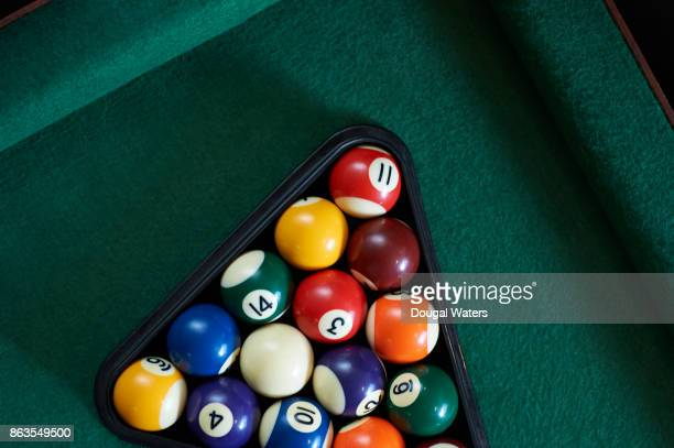 Pool balls and rack on table.