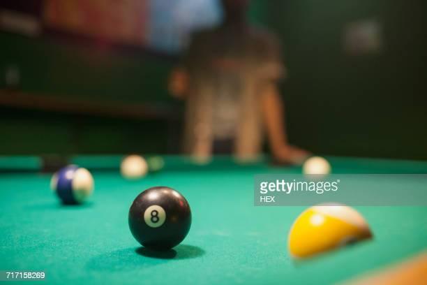 pool balls on a pool table. - poolbillard billard stock-fotos und bilder