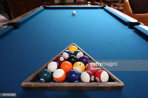 Pool balls racked up and ready for play