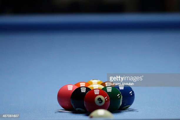 Pool balls sit on the table during the 9 Ball Pool Men Final at the Wunna Theikdi Billiards Hall during the the 2013 Southeast Asian Games on...