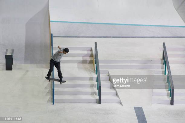 Pool Bellido, Peru, during the mens semi final of the Street League Skateboarding World Tour Event at Queen Elizabeth Olympic Park on 26th May 2019...