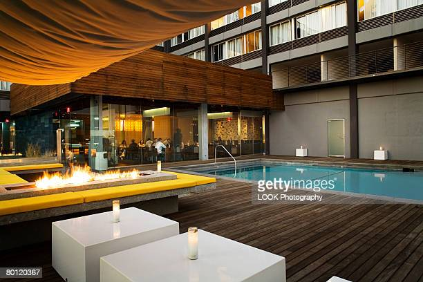 Pool Deck with Fire and Sitting Area