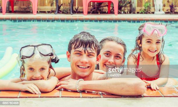 pool fun - kids swimsuit models stock pictures, royalty-free photos & images