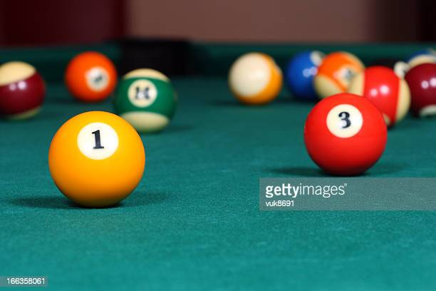 Pool game balls on the table