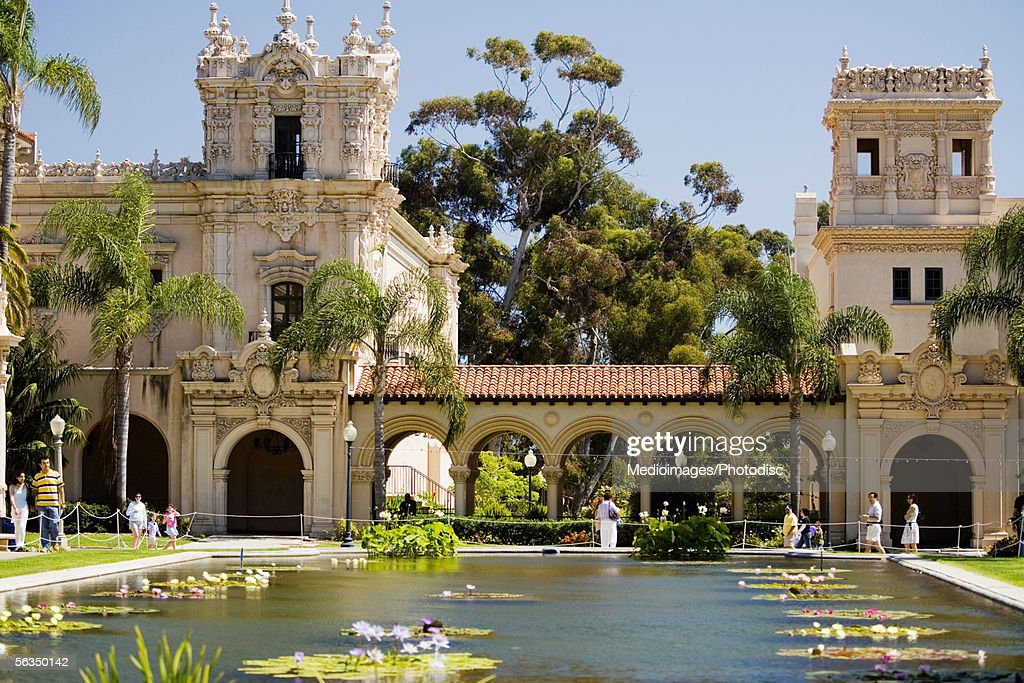 Pool In Front Of A Building, Balboa Park, San Diego, California, USA