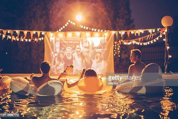 Pool movie night party