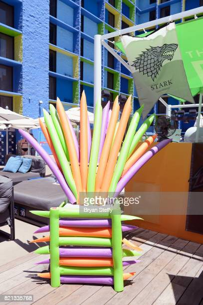 A pool noodle throne is displayed during DJ/actor Kristian Nairn's performance at The LINQ Hotel Casino on July 23 2017 in Las Vegas Nevada