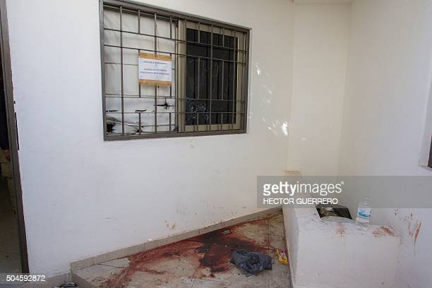 A pool of blood in a room inside the house where five alleged gang members were killed in the military operation which resulted in the recapture of...