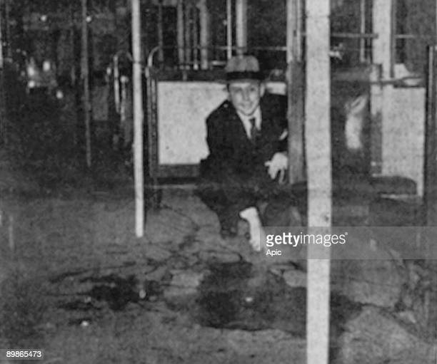 Pool of blood in the waggon where was discovered Laetitia Toureaux murdered in parisian subway between the stations Porte de Charenton and Porte...