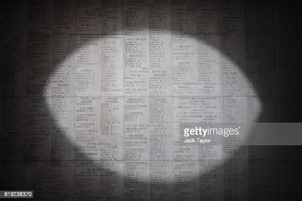 Pool of light illuminates the engraved names of the missing at the Menin Gate Memorial on April 6, 2017 in Ypres, Belgium. July 31st marks the...