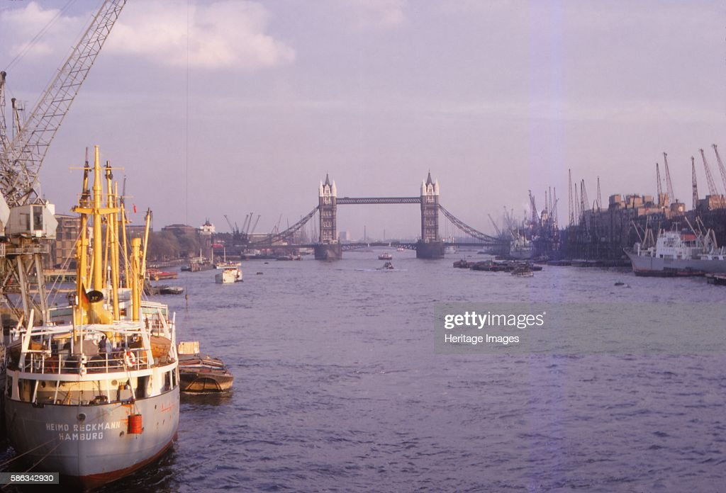 Pool of London with Docks and Tower Bridge, London, England