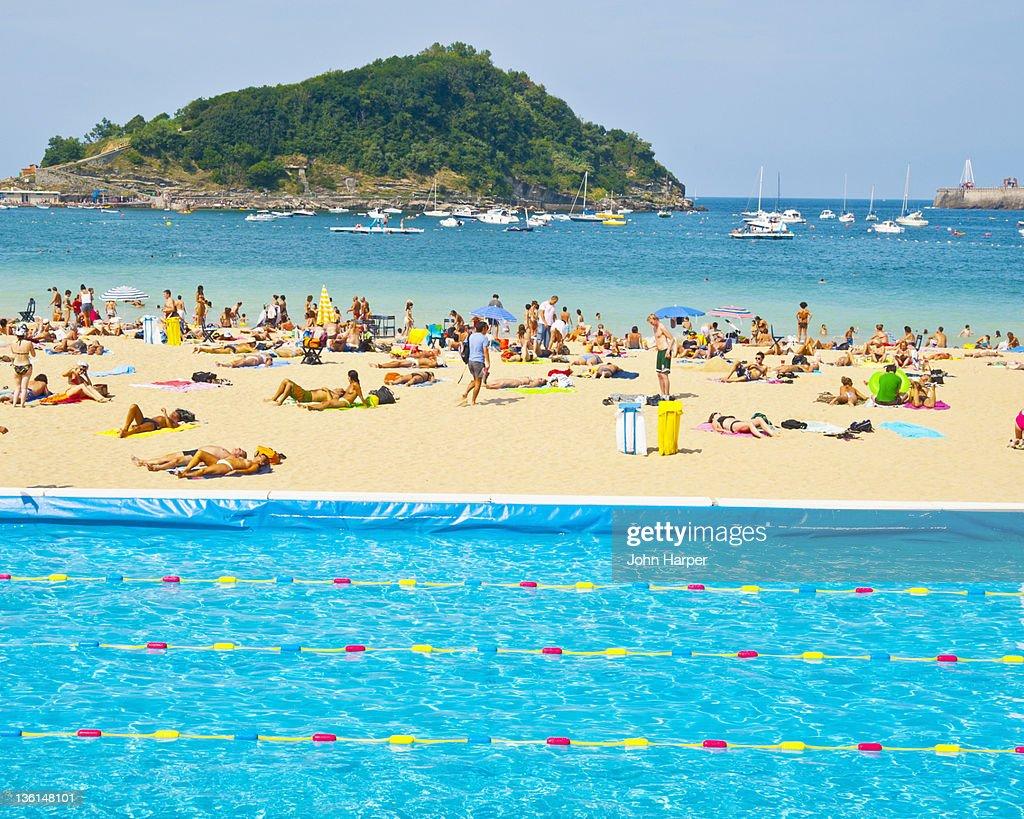 Pool on beach at San Sebastian in Spain : Stock Photo