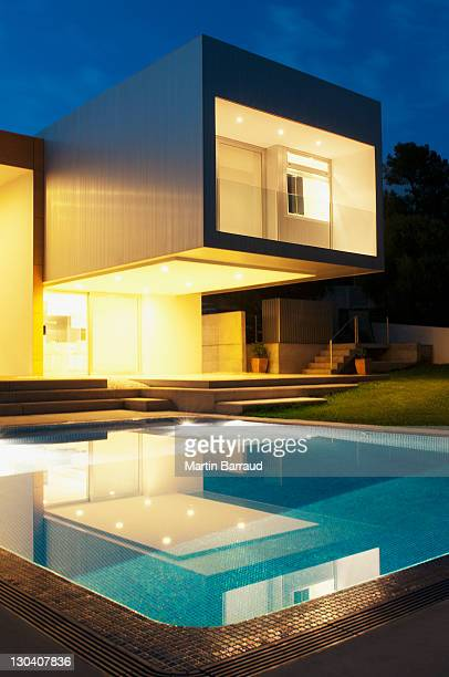 Pool outside modern house at twilight