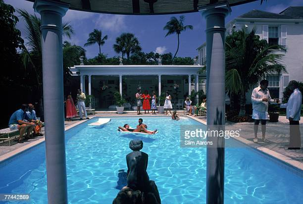A pool party at Mrs Warrington Gillet's house in Palm Beach Florida April 1982