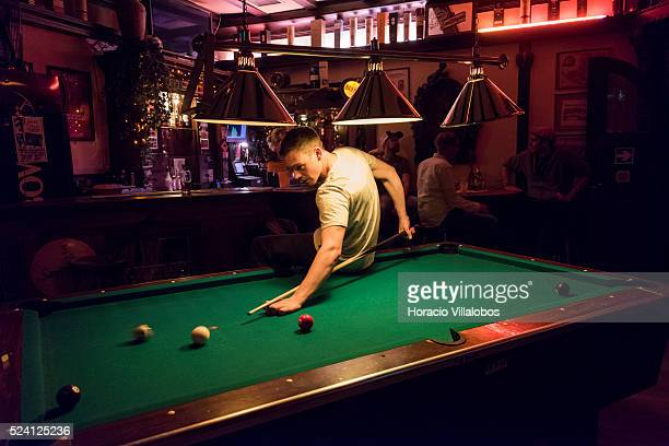 Pool playing at James Joyce Irish Pub in Mauspfad, old part of town, Bonn, Germany, 08 September 2014. Bonn, that offers many touristic attractions,...