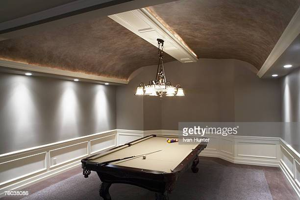 Pool table in contemporary home