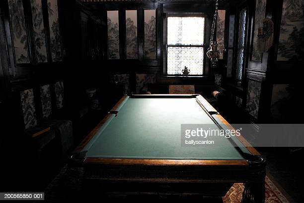 Pool table in darkened room
