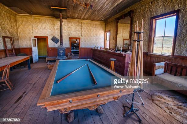 pool table in wheaton and hollis hotel in bodie state historic park, bodie, california, usa - weinstein stock pictures, royalty-free photos & images