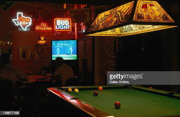 Pool table, tv and beer in downtown San Antonio.