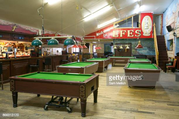 Pool tables at Efes Snooker Club on 18th November 2015 in East London United Kingdom A popular rough and ready Turkish Snooker and Pool hall popular...
