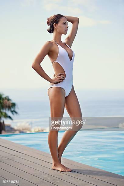 pool with a view - one piece swimsuit stock pictures, royalty-free photos & images