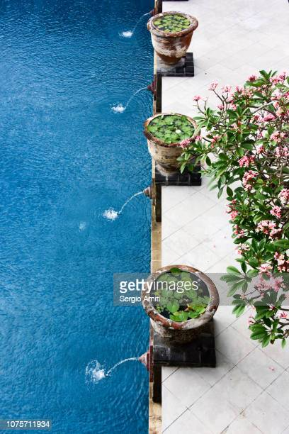 Pool with three water fointains and flower vases