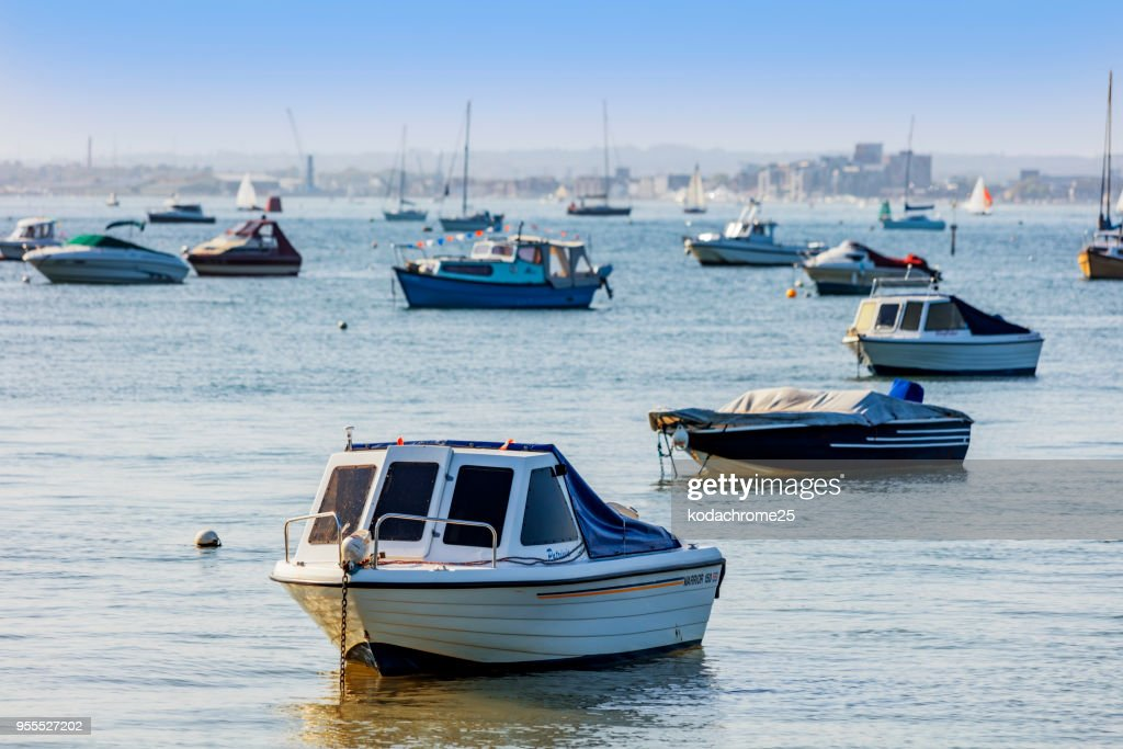 poole harbour dorset uk boats moored : Stock Photo