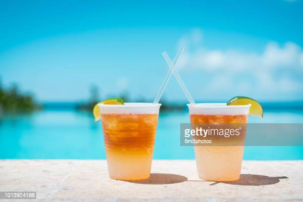 Poolside drinks at a tropical resort