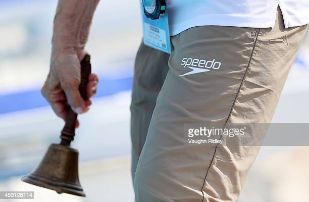 A poolside official at Parc JeanDrapeau during the 15th FINA World Masters Championships on August 03 2014 in Montreal Canada