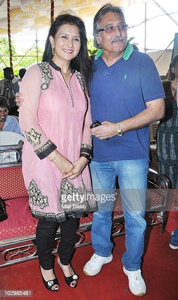 Poonam Dhillon and Vinod Khanna at the mahurat shot of the film One and Only in Mumbai on July 15 2010