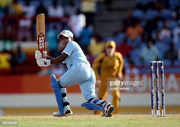 Poonam Raut of India hits out during the ICC Womens World Cup Twenty20 semi final between Australia and India played at the Beausjour Cricket Ground...
