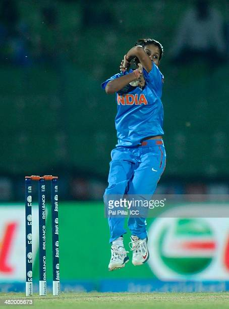 Poonam Yadav of India bowls during the ICC Women's World Twenty20 Playoff 2 match between Pakistan Women and India Women played at Sylhet...
