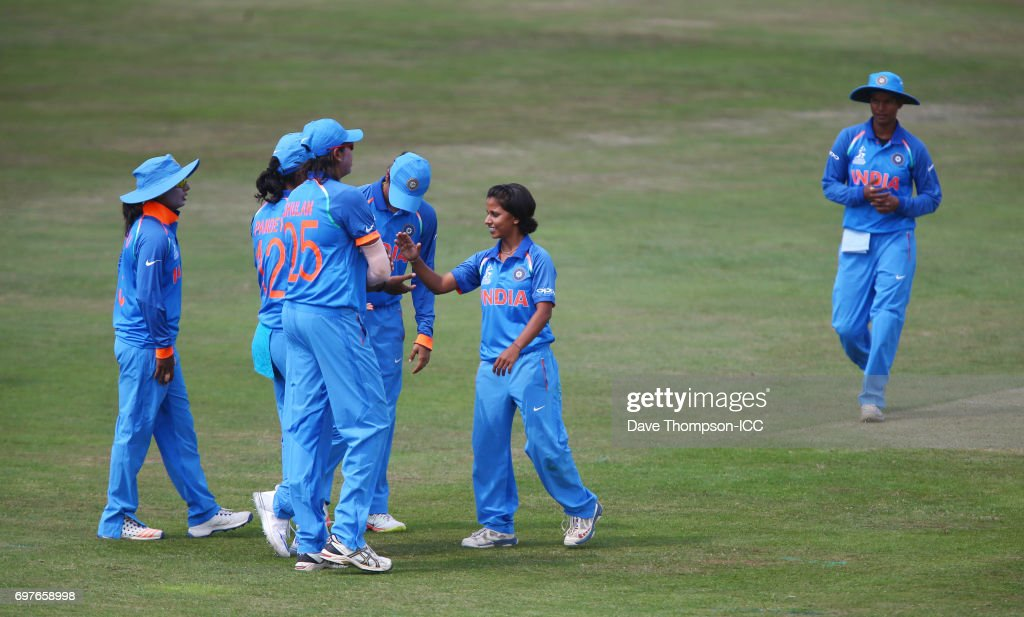 Poonam Yadav of India (C) celebrates taking the wicket of Suzie Bates of New Zealand during the ICC Women's World Cup warm up match between India and New Zealand at The County Ground on June 19, 2017 in Derby, England.