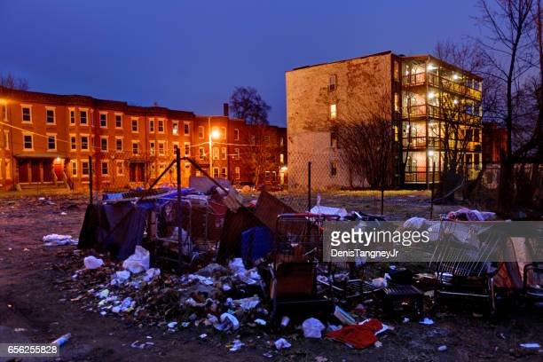 poor american slum in holyoke, massachusetts - ghetto trash stock pictures, royalty-free photos & images