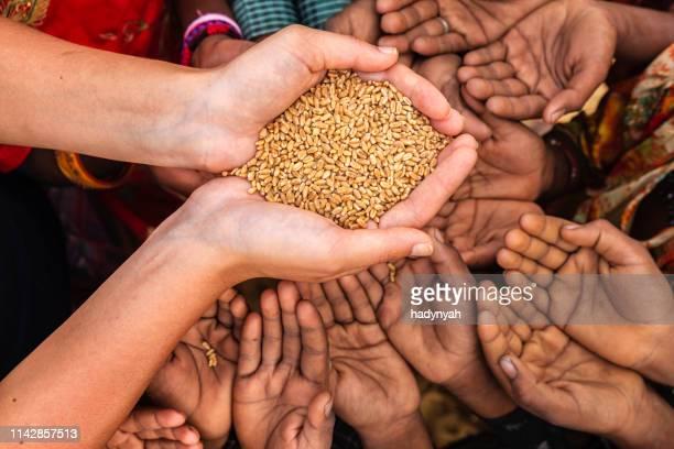 enfants indiens pauvres demandant de la nourriture, inde - main tendue photos et images de collection
