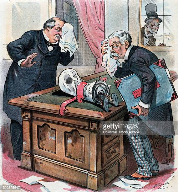 Poor thing they have taken the life out of it' Lame duck president Grover Cleveland and Secretary of State Richard Olney looking at a knockedout...