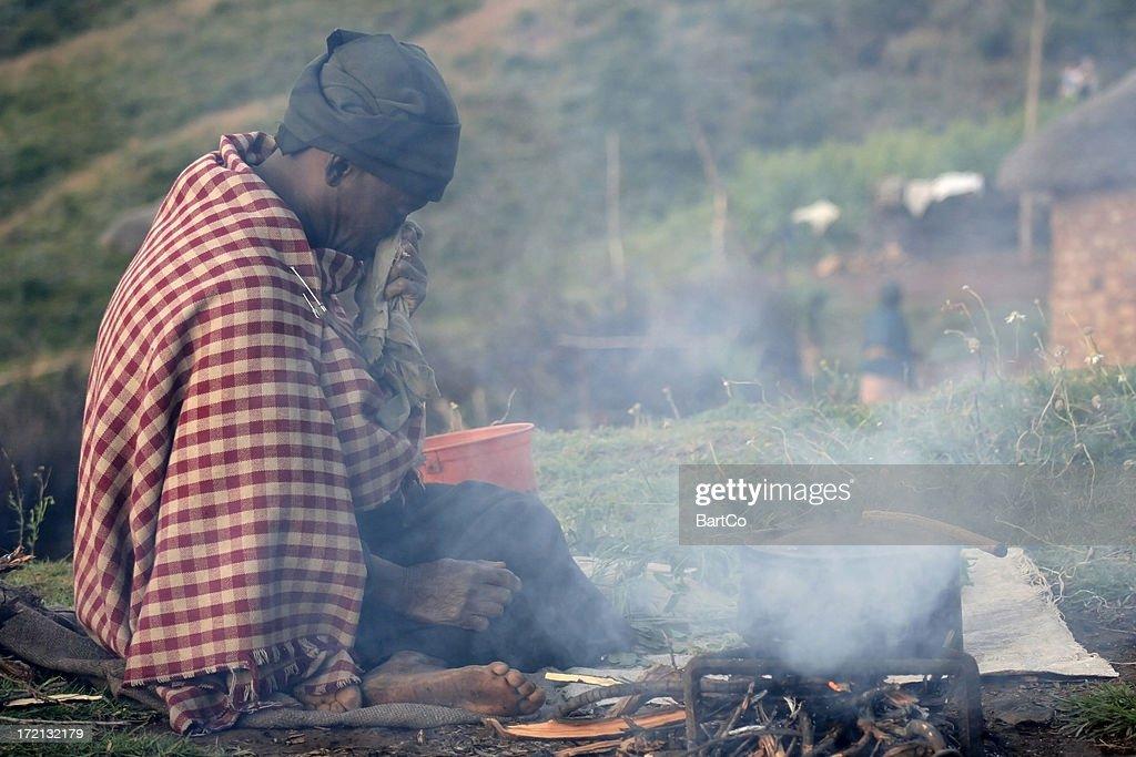 Poor woman in Lesotho : Stock Photo