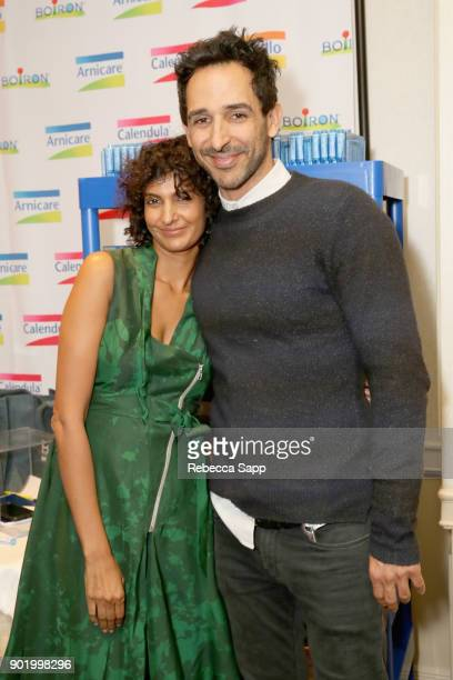 Poorna Jagannathan and Amir Arison attend the HBO LUXURY LOUNGE presented by ANCESTRY on January 6 2018 in Beverly Hills California
