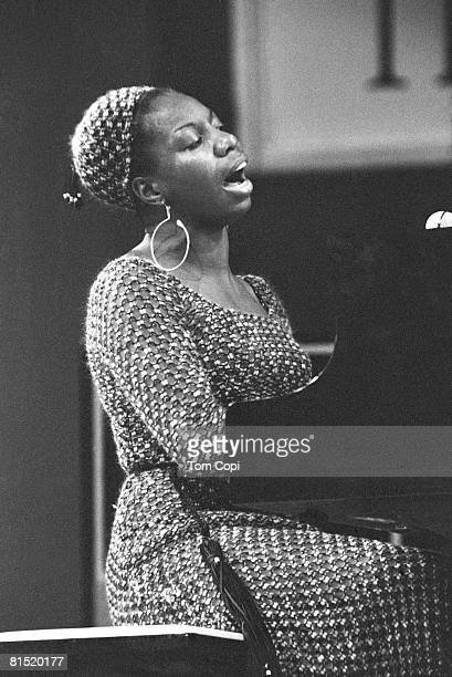 Pop and Jazz singer and pianist Nina Simone performs at the Newport Jazz Festival in 1970 at Festival Field in Newport Rhode Island
