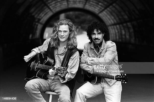Pop and soul musical duo Hall and Oates pose for a portrait on September 27 1990 in Prospect Park Brooklyn New York