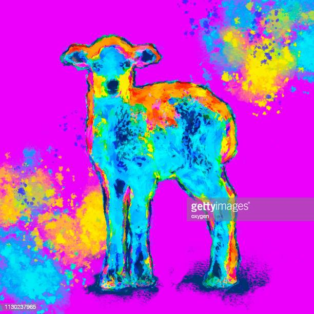 pop art multicolored sheep portrait - gift icon stock photos and pictures
